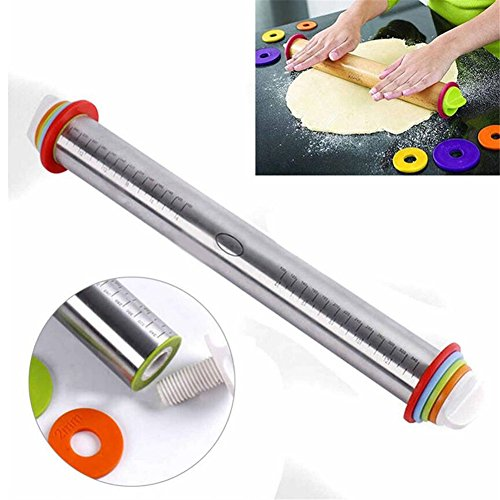 Stainless Steel Rolling Pin, Adjustable Rolling Pin Pins with Removable Thickness Rings Guides, 17'' Long Rod Rolling Pin for Baking Pizza Pie Cookie Pastry Non Stick Baking Roller, Bakeware Tools by VAlink