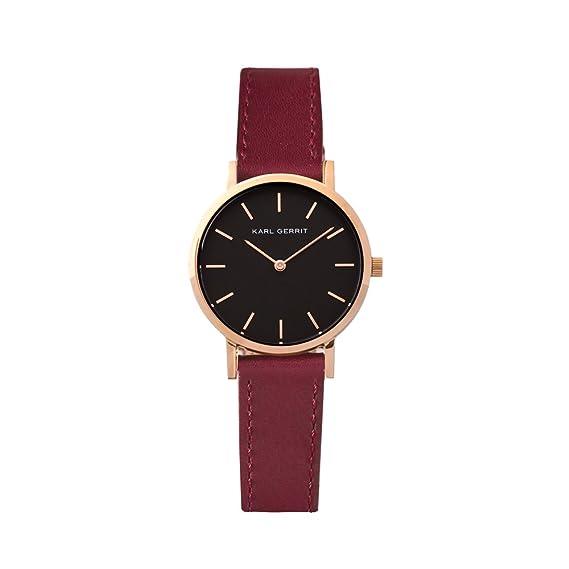 Reloj mujer Apolo 33 Karl Gerrit. Correa piel burdeos, corona en oro rosado y esfera negra.: Amazon.es: Relojes