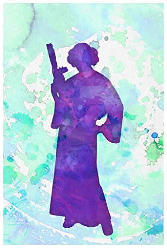 Princess Leia Silhouette Water Color Poster Wall Print|Inspirational Motivational Classroom Home Office Dorm|18 X 12