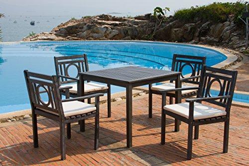 Safavieh Outdoor Living Collection Montclair 5-Piece Dining Set, Ash Grey