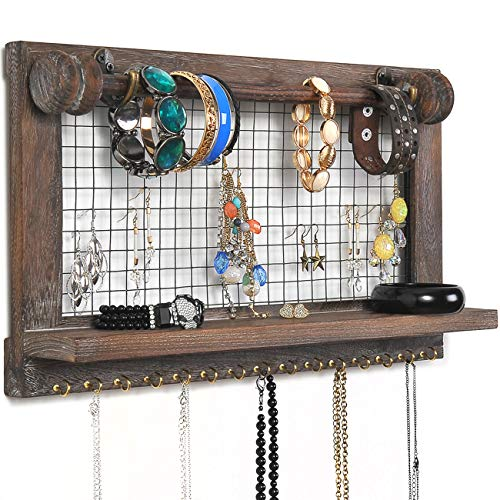 ounted Mesh Jewelry Organizer, Wood Shabby Chic Earring Holder with Shelf, Hanging Hook for Necklace, Removable Rod for Bracelet (Vintage Ring Mounting)