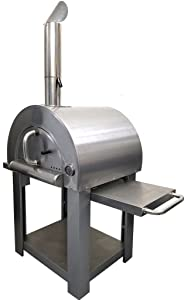 """31"""" Wood Fired Stainless Steel Artisan Pizza Oven or Grill with Side Tables, Outdoor or Indoor"""