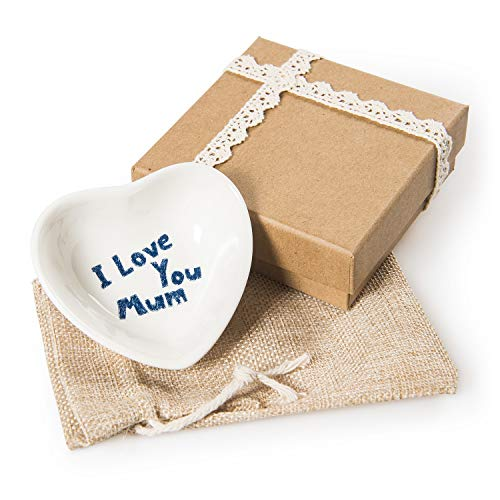 CHINZEE 'I Love You Mum' Porcelain Heart Shaped Dish Gift - Mothers Day Gifts Birthday Present ()