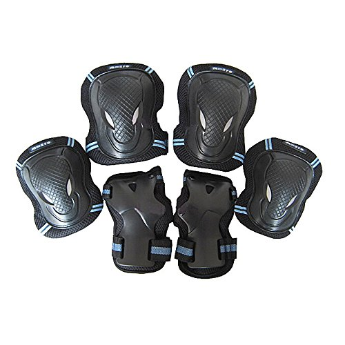 leadpo-adult-child-black-blue-color-knee-pads-elbow-pads-wrist-guards-3-in-1-protective-gear-set-for