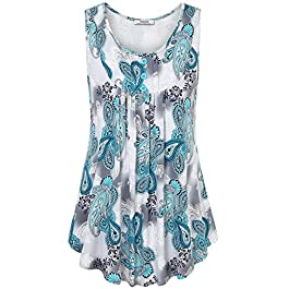 Youtalia Womens Summer Sleeveless Scoop Neck Shirts Pleats Flowy Tunic Tank