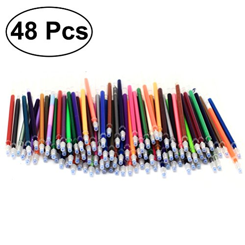 Healifty 48PCS 0.7mm Gel Ink Pen Refills Glitter Metallic Pastel for Crafting Doodling Scrapbooking Drawing Non-Toxic and Acid-Free