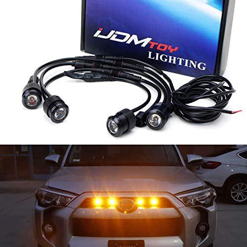 iJDMTOY 4pc Raptor Style 3W High Power LED Grille Lighting Kit For Toyota FJ Cruiser 4Runner Tacoma etc, 2500K Amber Projector Lens Spot Beam LED Lights (Toyota Tacoma Grill 2009)