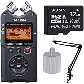 Tascam DR-40 Handheld 4-Track Recorder w Knox Boom Arm & 32 Gig Micro SD Card