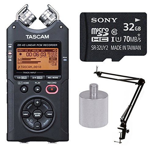 Tascam DR-40 Handheld 4-Track Recorder w Knox Boom Arm & 32 Gig Micro SD Card by Tascam