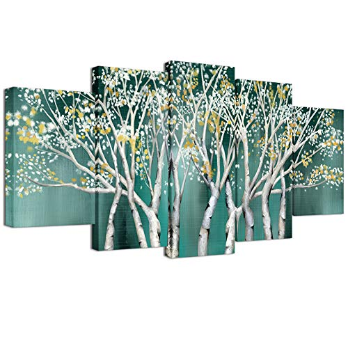 Welmeco 5 Pieces Canvas Wall Art Teal Trees with Splash Flowers Picture Prints Painting Modern Home Wall Decoration Contemporary Art for Living Room Office Decor (03 Trees)