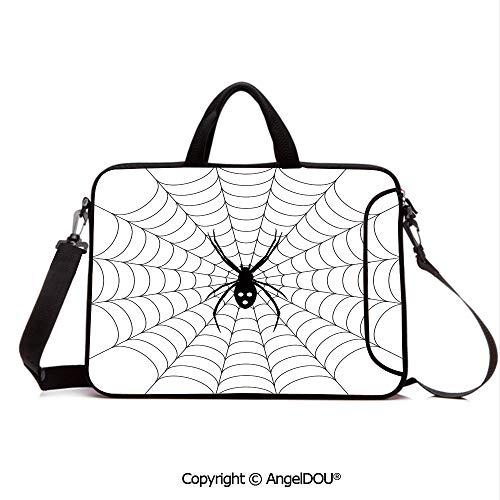 AngelDOU Customized Neoprene Printed Laptop Bag Notebook Handbag Poisonous Bug Venom Thread Circular Cobweb Arachnid Cartoon Halloween Icon Decor Compatible with mac air mi pro/Lenovo/asus/acer B]()