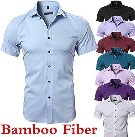 Camisa de Vestir de Fibra de bambú para Hombre, Ajustada, Manga Corta, Casual, con Botones, elástica, para Verano, Color Blanco, Negro y Azul: Amazon.es: Hogar