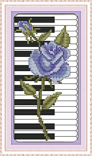 Rose Piano Purple Flower Canvas DMC Cross Stitch Kits 100% Accurate Printed Embroidery DIY Handmade Needle Work Wall Home Decor