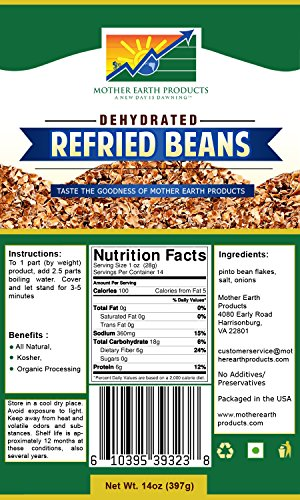 Mother Earth Products Refried Bean Mix, Quart Mylar, 14 Ounce ()