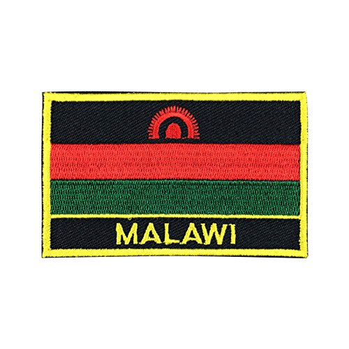 Malawi Flag Patch/International Embroidered Sew-On Travel Patches Collection (Malawi Iron On w/Words, 2 x 3)