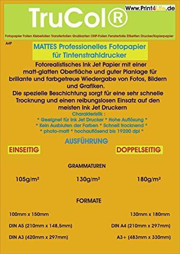 DIN A3 Inkjet Papier, Photo – matt, 130g /m², 50 Blatt, 2-seitig beschichtet