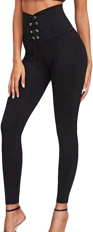 Pantalón Alto y elástico para Mujer Cinturón Alto Cinturón Pantalones Deportivos Correa de Cadera Sala de Baile Sexy Baile Leggins Pantalones de Yoga Mallas Deportivas riou: Amazon.es: Ropa y accesorios