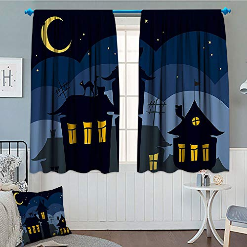 GLANDU Halloween, Thermal Insulating Blackout Curtain, Old Town with Cat on The Roof Night Sky Moon and Stars Houses Cartoon Art, Patterned Drape for Glass Door, 52x63 Inch Black Yellow Blue ()