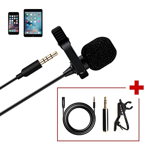 Maono AU-403 Lavalier Microphone with 20ft Extension Cable Lapel Mic Handsfree Clip-on for iPhone, Android, Smartphone, DSLR Camera, Voice Amplifie, PC, Laptop, Wireless Transmitter, Youtube (Omni Lavalier Wireless Mic System)