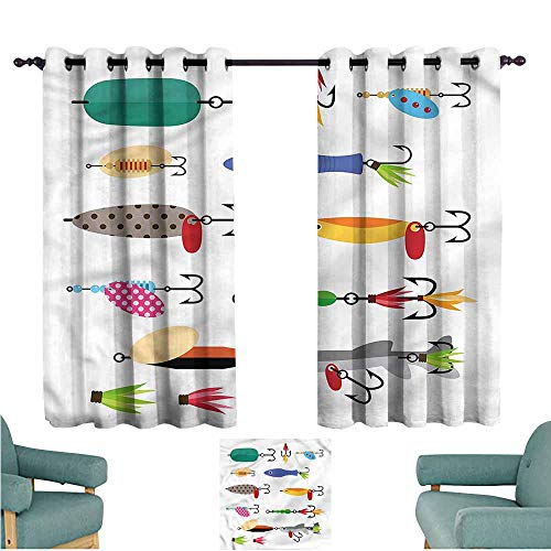 Agoza Kids Curtains Fishing Stinger Net and Worms for Bedroom Grommet Drapes W72x63L