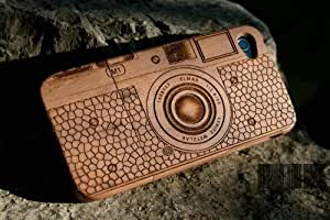 Matek(TM) iPhone 4S 4 Classic Camera Natural Real Bamboo Wood Wilderness Wooden Hard Cover Case fr iPhone 4S 4