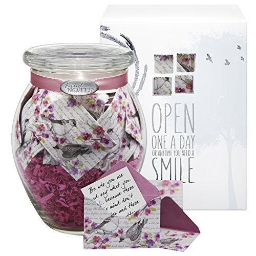 KindNotes Glass Keepsake Gift Jar of Sympathy Messages for Condolences, Bereavement, Passing, Loss, Funerals | Sympathy Messages - Birds and Flowers