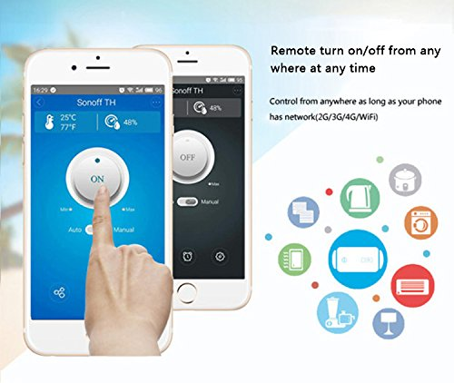 Sonoff TH16 Temperature and Humidity Monitoring WiFi Smart Switch for DIY Smart Home,Compatible with Alexa and Google Assistant (16A) by Sonoff (Image #4)