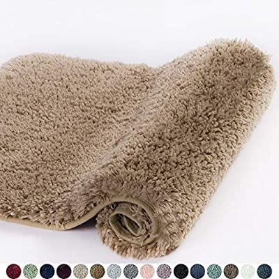 Walensee Bathroom Rug Non Slip Bath Mat for Bathroom (16 x 24, Sand) Water Absorbent Soft Microfiber Shaggy Bathroom Mat Machine Washable Bath Rug for Bathroom Thick Plush Rugs for Shower - ❤ MACHINE WASHABLE: Walensee 24 Inch x 16 Inch Bath Rug can be machine washed time and time again. We use the more expensive TP Rubber backing (not PVC or glue) which is much stronger and durable for long lasting use. ❤ PAMPER YOUR FEET: This bath mat for bathroom is constructed with thousands of individual microfiber shags, sink your toes into the comfortable contentment of a bathroom floor mat from threshold. Soft pile that soothes tired feet and shields toes from the cold floor. ❤ ULTRA ABSORBENT: The microfiber bath rug is much more absorbent than cotton bath rugs. High-pile helps save your floors from dripping water while you're stepping out of the bath, shower, or getting ready by the sink. Moisture is trapped in the mat's deep pile, allowing the rug to dry quickly and cleanly. - bathroom-linens, bathroom, bath-mats - 51HjTk ncVL. SS400  -