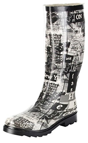 ConWay Newspaper - schwarz - Botas de agua de goma mujer negro - negro