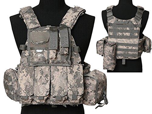 Tactical Multi Attack Molle Combat Vest Magazine Pouch Airsoft Paintball Military ACU by MDG