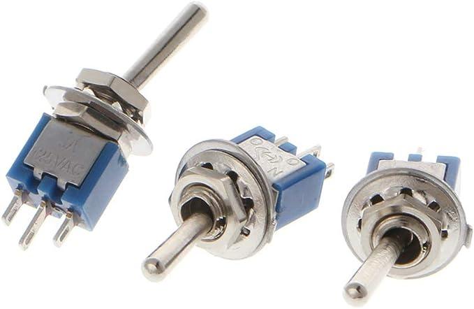 10 unidades AC 250 V//1,5 A 125 V//3 A SPDT 3 pines ON//ON 2 Posiciones Mini interruptor de palanca azul JENOR