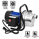 1.6HP Stainless Steel Water Pump, Shallow Well Pump Home Garden Lawn Sprinkling Booster Pump for Irrigation Water Supply (US Stock)