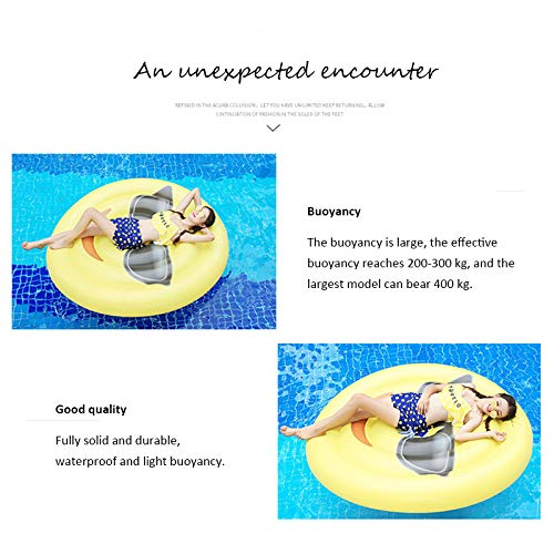 Giant Inflatable Emoji Cool Face Floating Row Adults Kids Summer Beach Toy Swimming Pool Party Lounge Round Raft-Yellow by WYL (Image #3)
