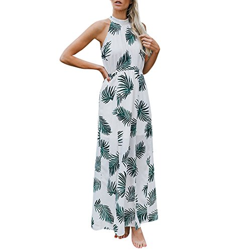 Women's Dress, BOLUBILUY Wrapped Halter Strap Printed Tops Fit and Flare Ankle-Length Skirt 2 Sets Beach ()