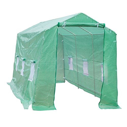 Outsunny 15' x 7' x 7' Portable Walk-In Garden Greenhouse - Deep Green