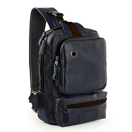 Zebella Mens Letaher Unbalance Chest Pack Multipurpose Backpack Crossbody Shoulder Bag Travel Sling Bag
