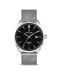 Reloj de pulsera Kairos de lujo para hombre, correa de malla de 42 mm, analógico, movimiento de cuarzo japonés de Vincero, Negro/Plateado, 42 mm