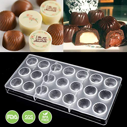 (Jeteven Chocolate Mold, Candy Molds Bon Bon Molds, Non-stick Screw Thread PC Polycarbonate Chocolate Mould-21 Cavities)