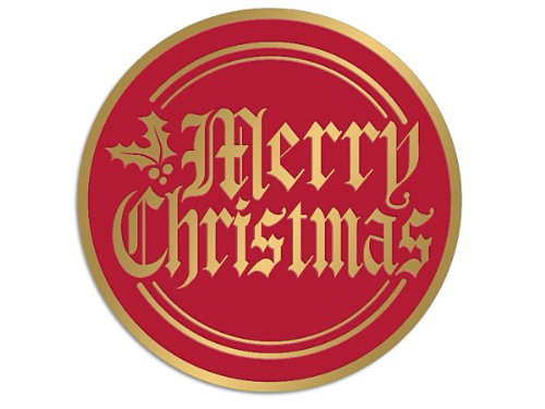 Christmas Seals And Labels - Merry Christmas Foil Gold & Red Seals 2