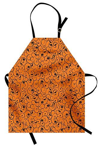 Miss Sweetheart Halloween Apron, Floral Swirls with Dots Little Bats Open Wings and Pumpkins Seasonal Pattern, Funny Kitchen Aprons Men Women Kids High Waist Apron, Orange -