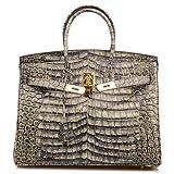 Qidell Women's Padlock Patent Leather Crocodile Embossed Handbag On Clearance (35 cm.Grey)