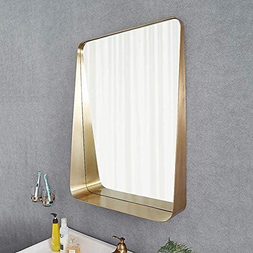 化粧鏡 装飾鏡 壁掛けミラー 家庭用ミラー ミラーシェルフ付き 洗面 化粧台 玄関 洗面 トイレ ホテル 店舗 装飾鏡 バスルームミラー ステンレススチールミラー 60×80cm