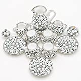 Odoria 1:12 Miniature 15PCS Porcelain Tea Cup Set Plum Blossom Dollhouse Kitchen Accessories