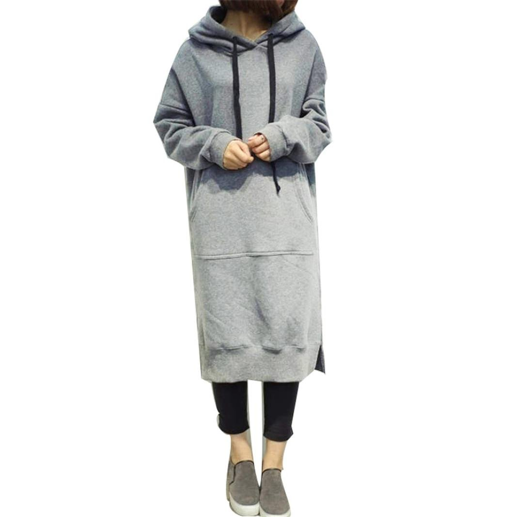 Women Blouse, Neartime Women Casual Hood Sweatshirt Hooded Ladies Long Pullover Tops (XL, Grey)