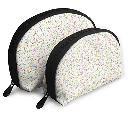 (Shell Shape Makeup Bag Set Portable Purse Travel Cosmetic Pouch,Festive And Colorful Confetti Pattern Happy Occasion Theme Dots Stars And Streamer,Women Toiletry Clutch)