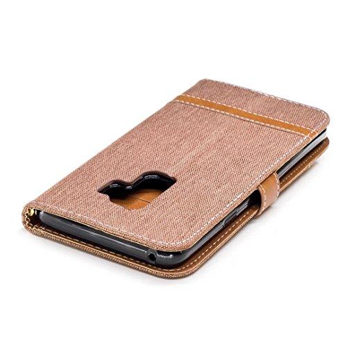 Samsung Galaxy S9Plus móvil, cowx PU Funda de piel para Samsung Galaxy S9Plus Funda Denim marrón