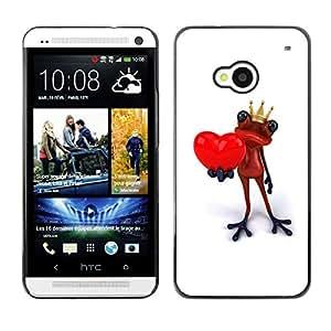 TopCaseStore / la caja del caucho duro de la cubierta de protección de la piel - King Crown White Frog Love Minimalist - HTC One M7