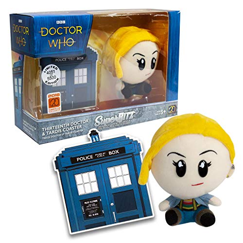 Doctor Who Super Blitz 13th Doctor Plush and Exclusive Tardis Coaster Set | Limited Edition Licensed BBC Collectible Merchandise | The Perfect Whovian Gift for Birthdays, Holidays, Graduation