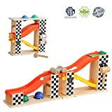 TOP BRIGHT Pound and Roll Tower Toddler Toys Race Track with Hammer and 2 Balls Wooden Pounding Toy for 1 2 Year Old