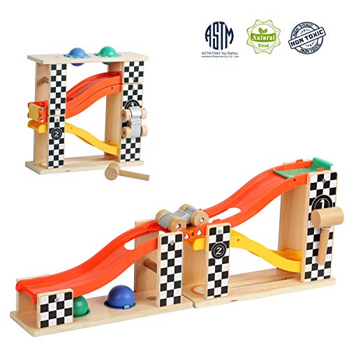 TOP BRIGHT Pound and Roll Tower Toddler Wooden Toy for 1 2 Year Old with Hammer and 2 Balls